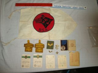 Bsa Boy Scout 1950 First Class Scout Medal Boxed,  Wolf Flag Patches,  Pins,  Cards