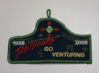 Boy Scout Philmont Go Venturing 1998 - 2008 10th Anniversary Patch Button Loop