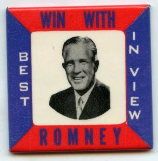 Win With George Romney Best In View Button Mirror Vote Campaign Election Bl28