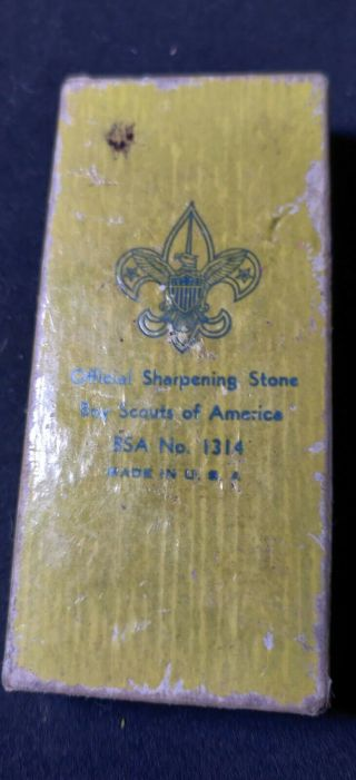 Vintage Official Boy Scouts Of America Sharpening Stone 1950
