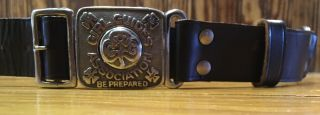 Vintage Canadian Girl Guides Cgg Assn Scout Leather Belt W/ 2 Pc Buckle Exc