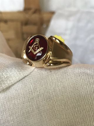 Masonic Lodge Ring Red Oval Stone 18k Hge Gold Classic Style Size 11 Made In Usa