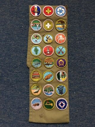 Vintage Boy Scout Sash With 24 Patches