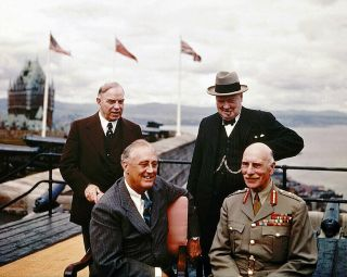 Roosevelt And Churchill At The Quebec Conference 11x14 Silver Halide Photo Print