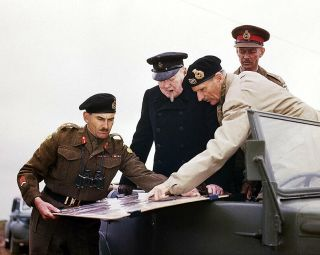 Sir Bernard Montgomery And Churchill With Map 11x14 Silver Halide Photo Print