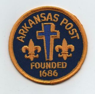 "Arkansas Post Nat.  Memorial Trail Patch "" Founded 1686 "" (quapaw Area Council,  Ar)"