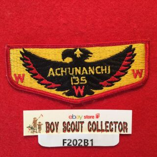 Boy Scout Oa Achunanchi Lodge 135 S9 Order Of The Arrow Pocket Flap Patch