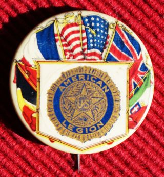 Early Pre - Wwii American Legion Celluloid Pinback - - - Whitehead & Hoag