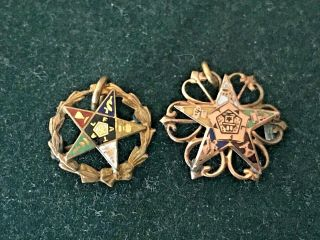 2 Antique 10k Solid Gold Enamel Order Eastern Star Oes Pins 5/8 ""