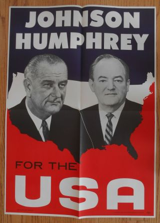 Johnson Humphrey Poster 1964 Presidential Pictures Both &