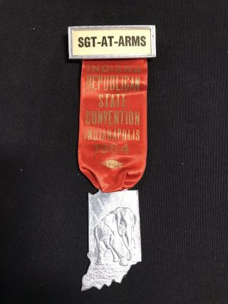 Indiana Republican State Convention 1964 Gop Medal W/ Ribbon Pin Jh284