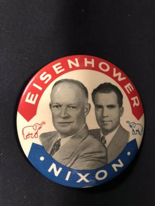 "Dwight Eisenhower,  Richard Nixon Political Campaign Pin Button 3.  5 "" Jh336"