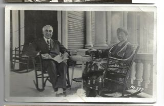 Warren Harding W/ Wife Real Photo Postcard On Front Porch Of Marion,  Oh Home