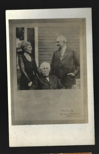 Warren Harding W/wife & Dad - Dr George Harding Real Photo Postcard Vertical View