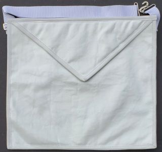 "Freemason Masonic Member White Real Cow Hide Leather Apron Snake Snap 16 "" X 14 """