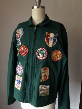 1950's Boy Scout Green Cotton Windbreaker Jacket 25 Patches 1954 - 1964