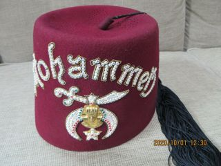 Shriner Masonic Ceremony Fez Hat Tassel Jeweled Mohammed