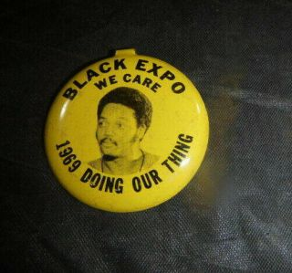 Vtg Civil Rights 1969 Black Expo Jesse Jackson Doing Our Thing Metal Pin Button