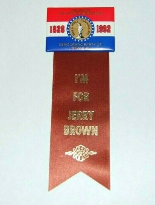 1992 Jerry Brown Campaign Pin Pinback Button Political Presidential Election