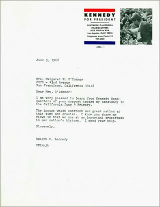 June 1968 Robert Kennedy California Primary Campaign Volunteer Letter (6840)