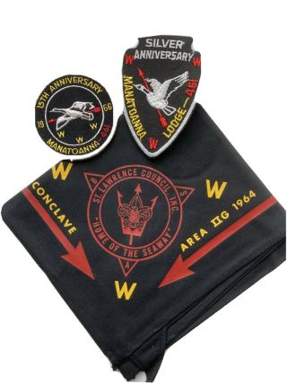 Boy Scout Oa Lodge 461 Manatoanna 1964 Conclave N/c And Anniversary Patches