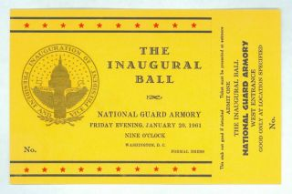 1961 Vintage President John Kennedy Inaugural Ball Ticket National Guard Armory