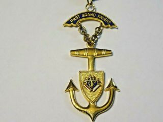 Vintage Knights Of Columbus Past Grand Knight Medal Anchor With Ribbon