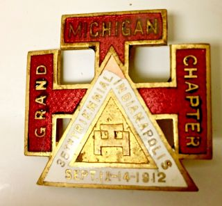 Masonic Freemason Medal Michigan Grand Chapter 1912 35th Triennial