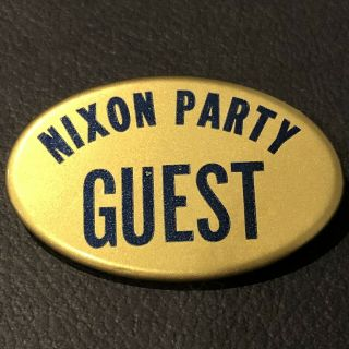 "Vice President ""nixon Party Guest"" Oval Celluloid Pin"