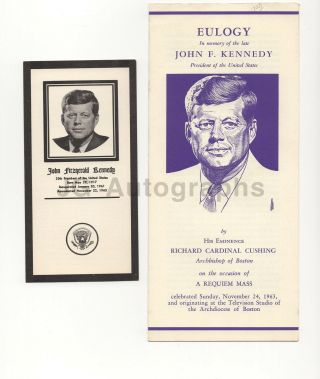 John F.  Kennedy - Eulogy Program With Prayer Card