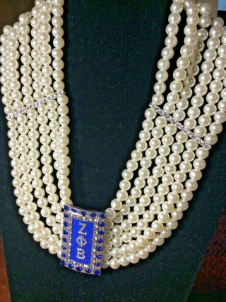 Zeta Phi Beta Inspired Multi - Strand Pearl Necklace