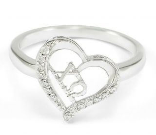 Sterling Silver Chi Omega Heart Ring With Simulated Diamonds -