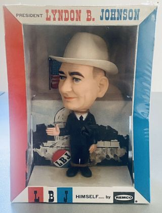 Vintage 1964 Lyndon B Johnson Remco Figure Bobblehead Toy Lbj Campaign
