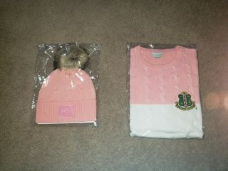 Alpha Kappa Alpha Sweater Hat Set Size Medium