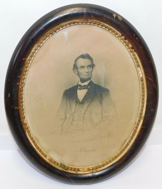 Vintage Early Abraham Lincoln Photo Print Signature