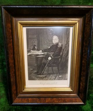 Antique Framed Engraving Of Gen.  Winfield Scott