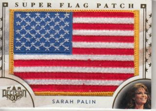 2016 Decision Sarah Palin Gold Flag Patch Card