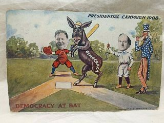 1908 William Jennings Bryan & Taft Playing Baseball Presidential Campaign Pc