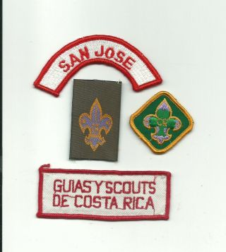 Scout Costa Rica 4 Different Patch San Jose Woven Tenderfoot Guide Strip Badge