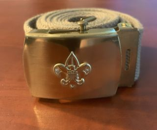 "Boy Scout Bsa Olive Green Official Uniform Belt 48"" Solid Brass Usa Buckle"
