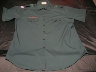 Official Bsa Boy Scout Venturing Mens Xl (17 - 17 1/2) Green Uniform Shirt