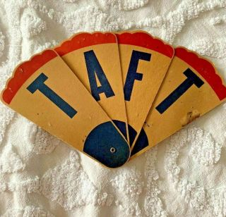 Spectacular Antique President William H Taft Campaign Paper Red White Blue Fan