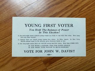 1924 John W.  Davis For President Young First Voters Campaign Flier