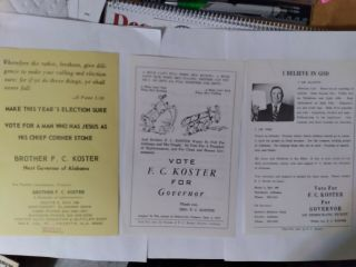 Koster For Governor,  1968 Alabama Democrat Party Election,  5 - 1/2 X 8 - 1/2