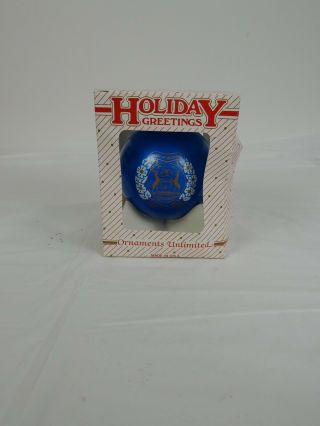 1995 State Of Michigan Christmas Tree Ornament Blue Glass Made In Usa