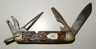 """Bsa Logo Boy Scouts Of America Folding Knife,  4 """" Blades """" 3 3/4 """" Closed,  Ulster"""