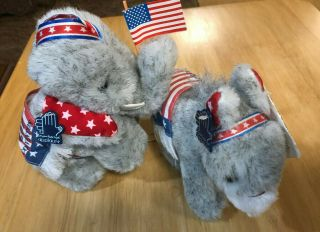 1984 Gop Democratic Conventions Plush Elephant And Donkey Applause Reagan