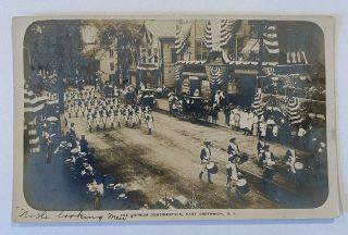 Rppc - East Greenwich,  Ri,  Military Political Parade By Post Office
