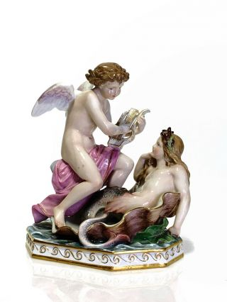 Meissen Porcelain Figural Group Cupid Playing The Lyre For A Mermaid 19th C