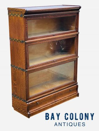 19th C Antique Tiger Oak Macey Stacking Barrister Bookcase W/ Base Drawer